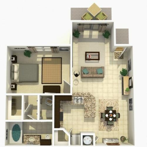 Cypress Upgrade one bedroom one bathroom 3D floor plan
