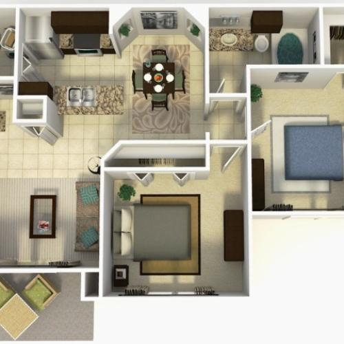 Doral Rehab two bedroom one bathroom 3D floor plan