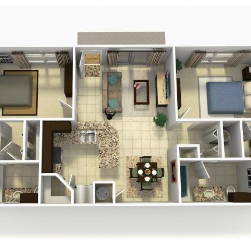 Espana Upgrade two bedroom two bathroom 3D floor plan