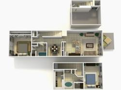 Lisbon Upgrade two bedroom two bathroom town home with single car garage 3D floor plan