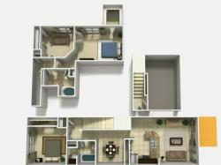 Mallorca Upgrade two bedroom two bathroom with den and single car garage 3D floor plan