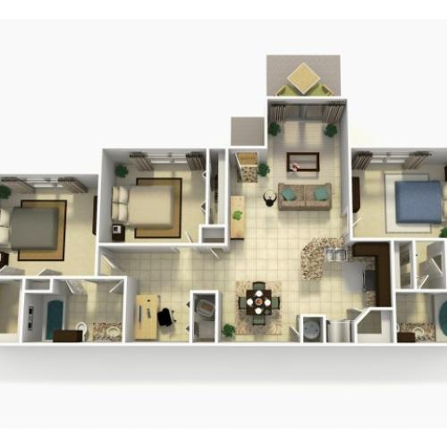 Almeria Rehab three bedroom two bathroom with den 3D floor plan