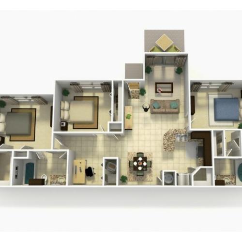 Almeria Rehab three bedroom two bathroom with den 3D floor plan
