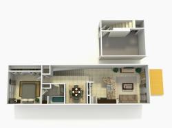 Sevilla Upgrade one bedroom one bathroom town home with single car garage 3D floor plan