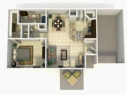 Madrid Rehab one bedroom one bathroom with single car garage 3D floor plan