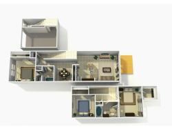 Coronado Upgrade three bedroom two bathroom town home with single car garage 3D floor plan