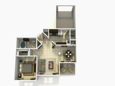 Grenada Upgrade one bedroom one bathroom 3D floor plan