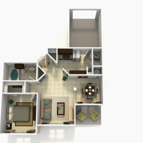 Grenada Upgrade one bedroom one bathroom 3D floor plan