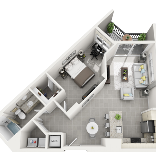 Viva Premium one bedroom one bathroom 3D floor plan