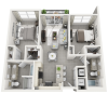 Cozumel two bedroom two bathroom floor plan