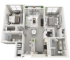 Montenegro two bedroom two bathroom 3D floor plan