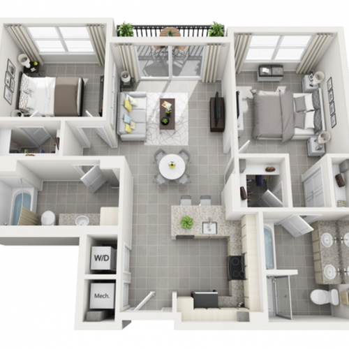 Santa Cruz two bedroom two bathroom floor plan