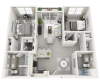 St. Vincent two bedroom two bathroom 3D floor plan