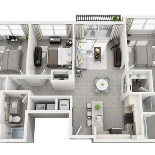Isla three bedroom two bathroom 3D floor plan