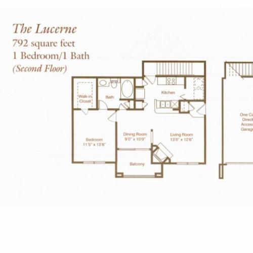 Lucerne one bed, one bath with attached garage, dining room and balcony
