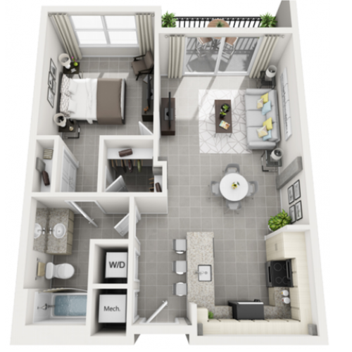 Calma one bedroom one bathroom 3D floor plan