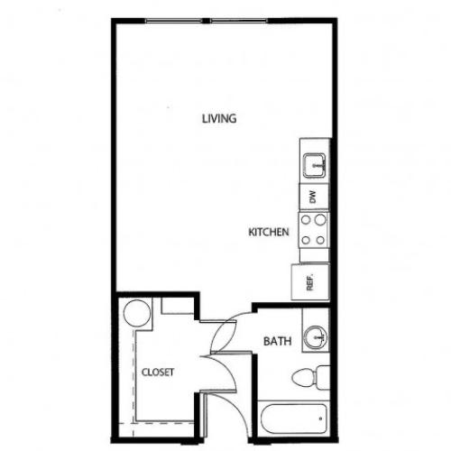 Studio/ one bathroom, kitchen, walk in closet, coat closet, laundry room, E2-2 floor plan, 498 square feet.