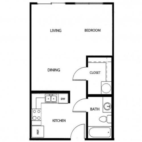 Studio/ one bathroom, kitchen, walk in closet, coat closet, laundry room, E3-2 floor plan, 523 square feet.