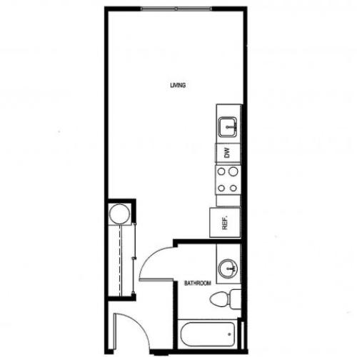 Studio/ one bathroom, kitchen, walk in closet, coat closet, laundry room, EO-2 floor plan, 352 square feet.