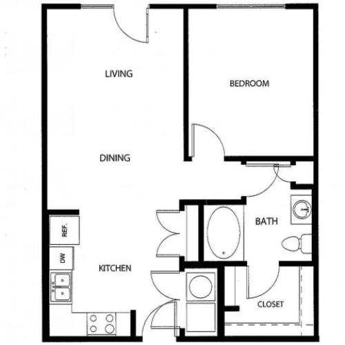 One bedroom one bath, kitchen, kitchen pantry, living room, dining room, laundry room, one closet and patio, A1C-2 floor plan, 730 square feet