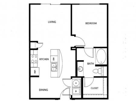 One bedroom one bath, kitchen, kitchen pantry, living room, dining room, laundry room, one closet and patio, A1O-2 floor plan, 698 square feet