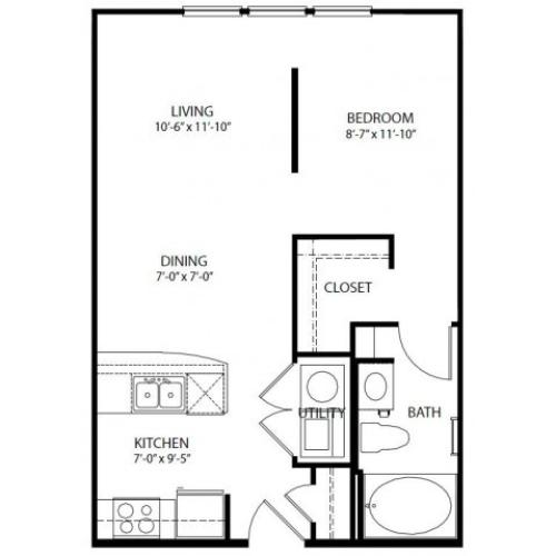 Studio/ one bathroom, kitchen, walk in closet, coat closet, laundry room, E2-3 floor plan, 580 square feet.