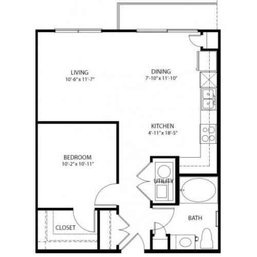 One bedroom, one bathroom, one walk in closet, laundry room, hvac room, pantry, living room, kitchenA1A- 3 floor plan, 696 square feet.