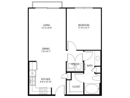 One bedroom, one bathroom, one walk in closet, laundry room, hvac room, pantry, living room, kitchen A1C- 3 floor plan, 751 square feet.