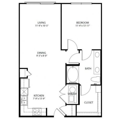 One bedroom, one bathroom. Kitchen, living room, patio with storage, walk in closet, laundry room. A5-3 floor plan, 792 square feet.