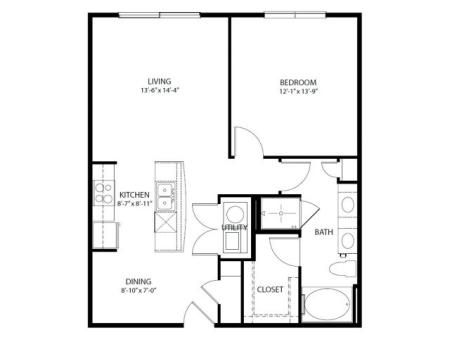 One bedroom, one bathroom. Kitchen, living room, patio with storage, walk in closet, laundry room. A6-3 floor plan, 837 square feet.