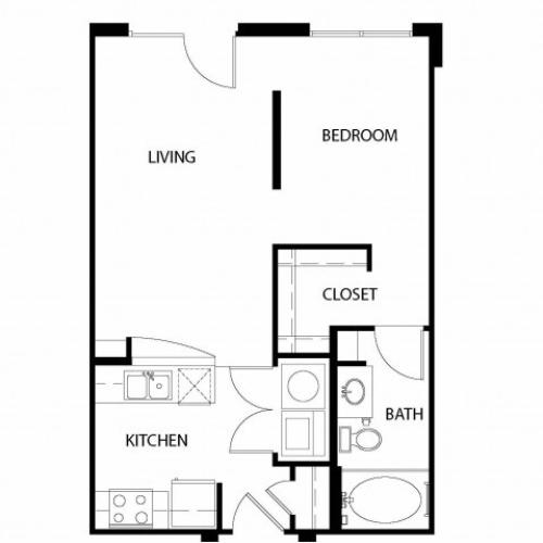 Studio/ one bathroom, kitchen, walk in closet, coat closet, laundry room, E1-4 floor plan, 586 square feet.