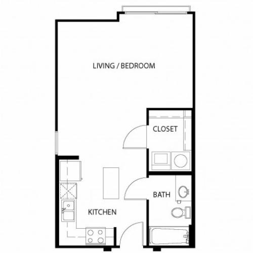 Studio/ one bathroom, kitchen, walk in closet, coat closet, laundry room, E3-4 floor plan, 524 square feet.
