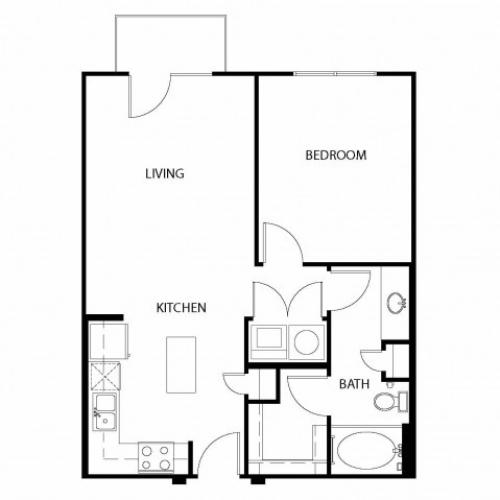 One bedroom, one bathroom. Kitchen, living room, patio with storage, walk in closet, laundry room. A1C-4 floor plan, 703 square feet.