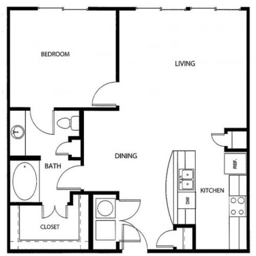 One bedroom one bath, kitchen, kitchen pantry, living room, dining room, laundry room, one closet and patio, A5-2 floor plan, 843 square feet