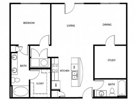 One Bedroom/One Den/two Bathroom, kitchen, kitchen pantry, living room, dining room, laundry room, one closet and patio, A6-2 floor plan, 1049 square feet.