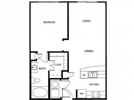 One bedroom one bath, kitchen, kitchen pantry, living room, dining room, laundry room, one closet and patio,  AO-2 floor plan, 661 square feet.