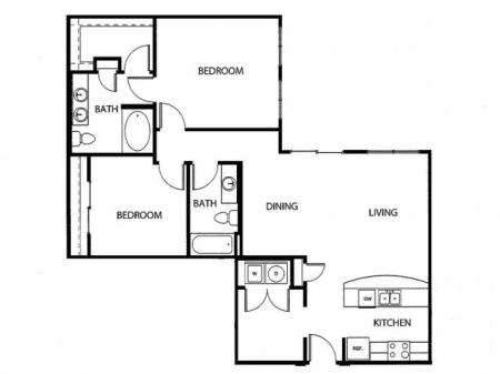Two bedroom, two bath, kitchen, pantry, coat closet, living/dining room, two walk in closets, linen closet and laundry room. 1146 square feet B6-2 floor plan.