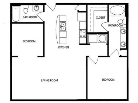 One Bedroom/One Den/One Bathroom, kitchen, kitchen pantry, living room, dining room, laundry room, one closet and patio, FA6-2 floor plan, 994 square feet.