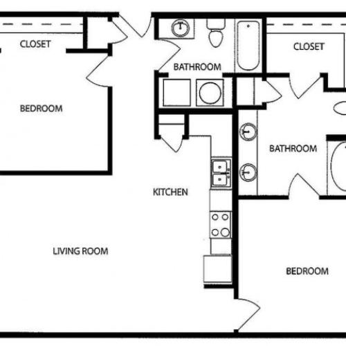Two bedroom, two bath, kitchen, pantry, coat closet, living/dining room, two walk in closets, linen closet and laundry room. 1018 square feet FB1-2 floor plan.