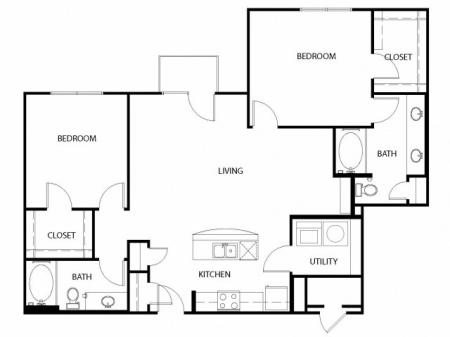 Two bedroom, two bath, kitchen, pantry, coat closet, living/dining room, two walk in closets, linen closet and laundry room. 1235 square feet B3-4 floor plan.