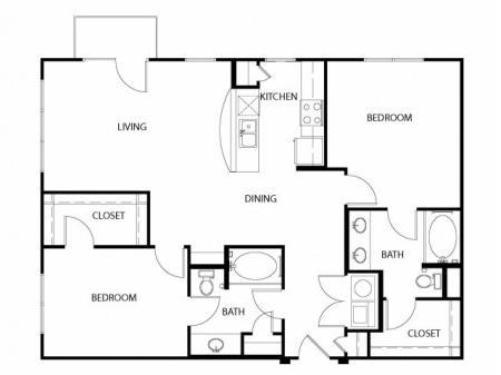 Two bedroom, two bath, kitchen, pantry, coat closet, living/dining room, two walk in closets, linen closet and laundry room. 1201 square feet B2-4 floor plan.