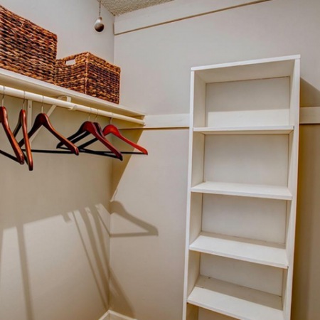 Spacious Closet with Wooden Shelving| Apartments in Nashville, TN | Bellevue West