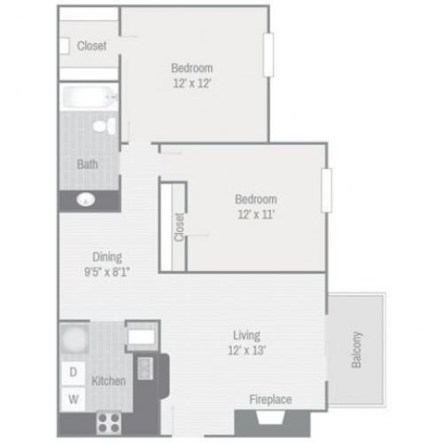 Floor Plan 4 | Nashville Apt | Bellevue West