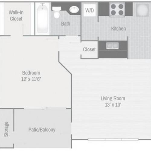 Spacious one bedroom apartment floorplan