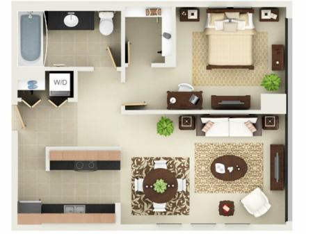 One Bedroom One Bathroom Floor Plan A8