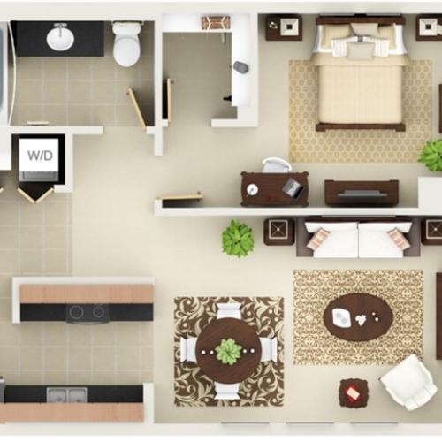 One Bedroom One Bathroom Floor Plan A8