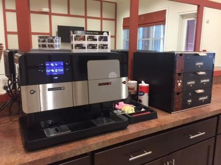 Coffee Station with Coffee Maker and Coffee Selection l Monterey Pointe
