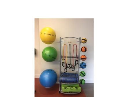 Fitness Center Equipment including large fitness balls, activity mats, medicine balls at Monterey Pointe Fitness Center