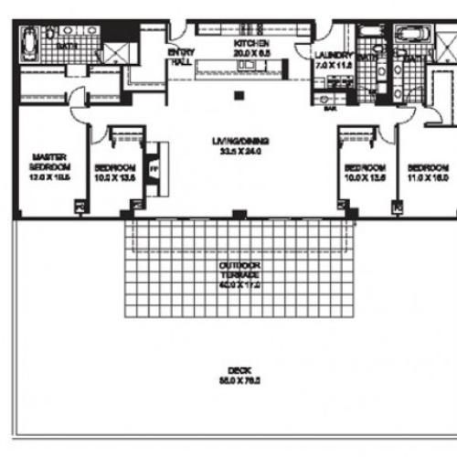 Four Bedroom Three Bathroom Floor Plan D10