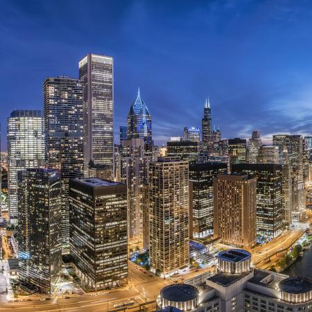 Chicago city views at night from North Water Apartments